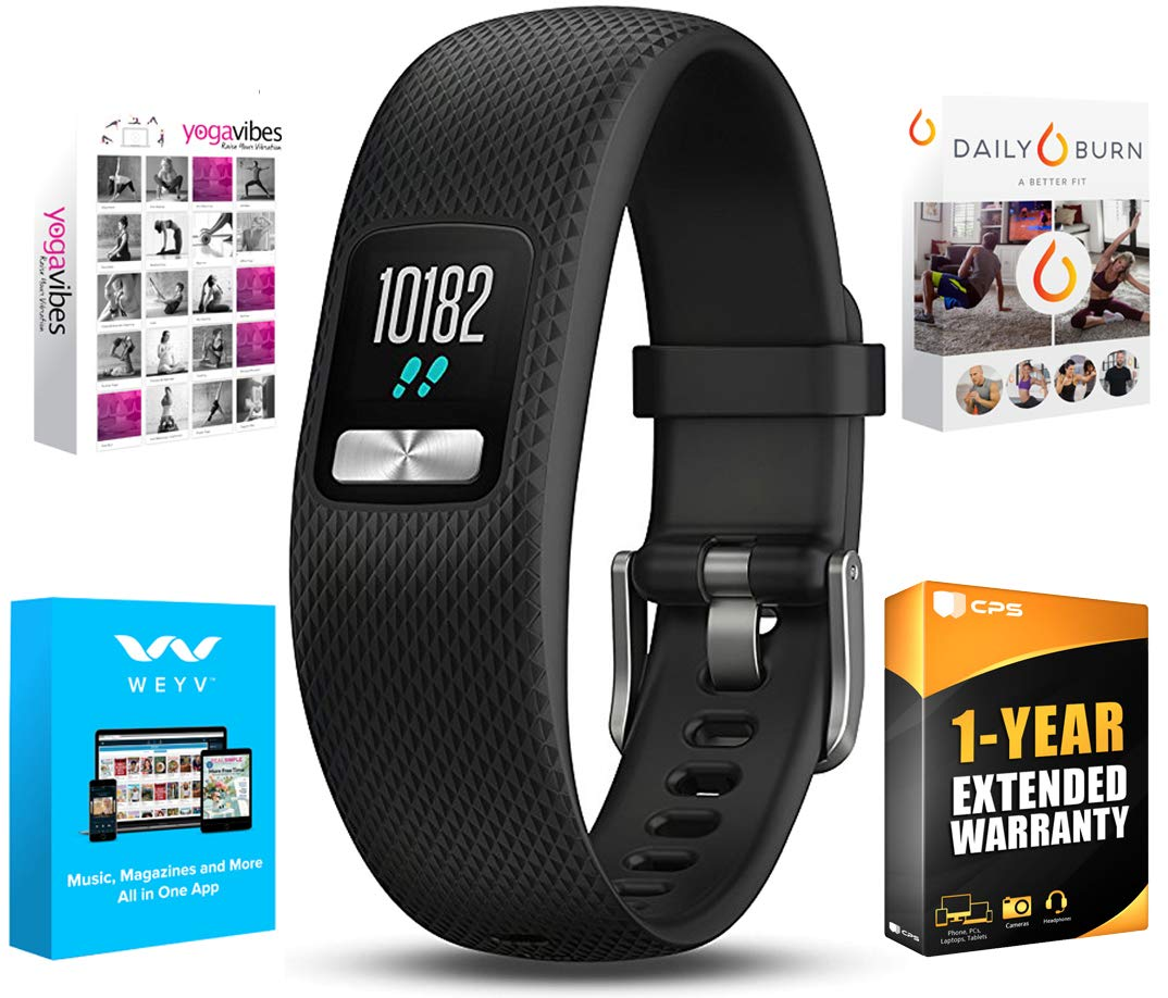 Garmin Vivofit 4 Activity Tracker W/Color Display Large Black (010-01847-03) with Tech Smart USA Fitness & Wellness Suite & 1 Year Extended Warranty