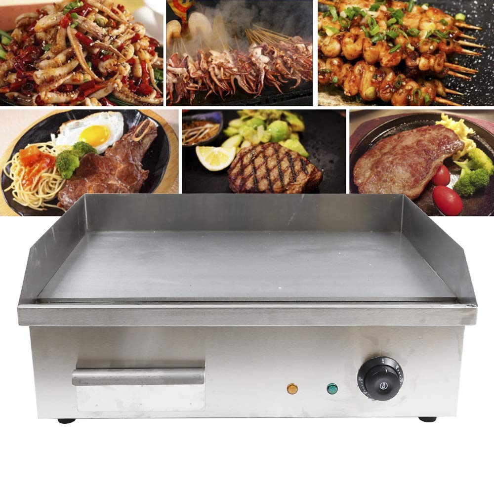 ZHFEISY Electric Griddles - 3000W Non-Stick Commercial/Home Kitchen BBQ Electric Grill Teppanyaki Hot Plate with Drip Tray & Temperature Control for Indoor/Outdoor Working Area:22''x14''【CE Certification】 by ZHFEISY