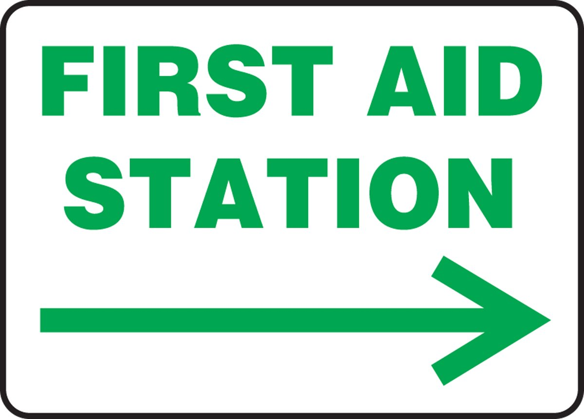 LegendFIRST AID STATION Accuform MFSD980VA Aluminum Safety Sign Green on White 10 Length x 14 Width ARROW RIGHT