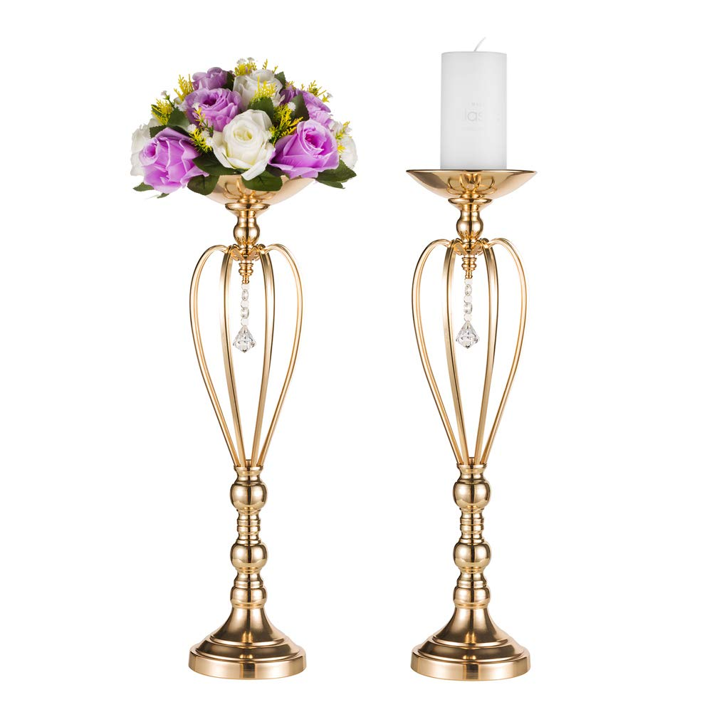 Pcs of 2 Metal Vase for Wedding Centerpieces Decoration-Artificial Flower Arrangement-Pillar Candle Holder Stand Set for Wedding Party Dinner Event Centerpiece Home Decor (2x17.7 H, Heart Style) Fuzhou cangshan