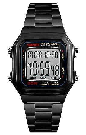 sports shoes 7a083 cc142 Amazon | SKMEI 腕時計 スクエア型 メンズ ブラック おしゃれ ...