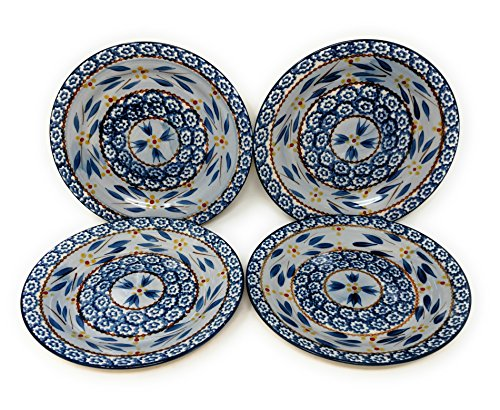 Temp-tations Set of 4 Hand Painted Stoneware Salad/Dessert Plate Choose Your Shape (Round Old World Blue)