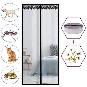 Magnetvorhang T/ür 43x83inch f/ür Balkont/ür Wohnzimmer Terrassent/ür Glasfasermaterial Insektenschutz GOUDU Magnet Fliegengitter Balkont/ür Schwarz 110x210cm