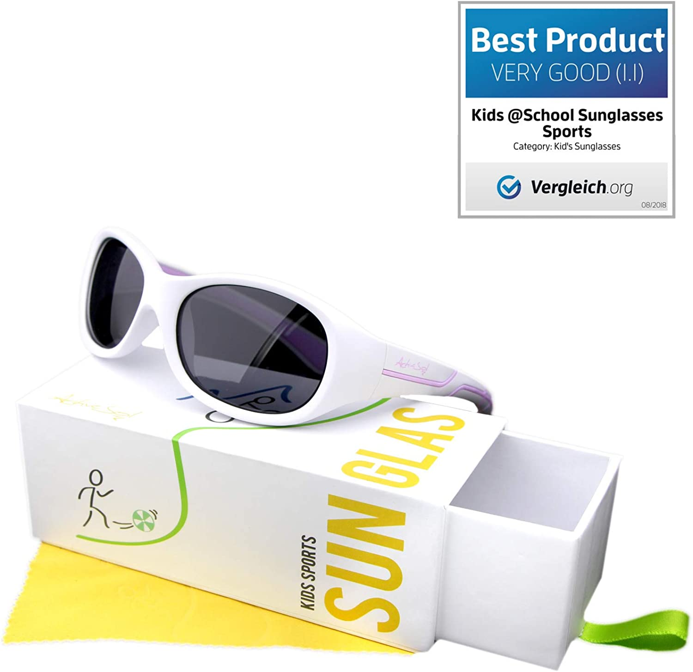 M/ädchen und Jungen 5-10 Jahre polarisiert nur 22 Gramm ActiveSol Kids @School Sport-Sonnenbrille Geschenk 100/% UV 400 Schutz unzerst/örbar aus flexiblem Gummi