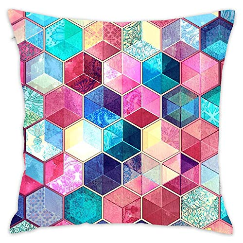 "Topaz & Ruby Crystal Honeycomb Cubes Cotton Square Throw Waist Pillow Case Decor Cushion Cover Pillowcase Sofa 18""x 18"""