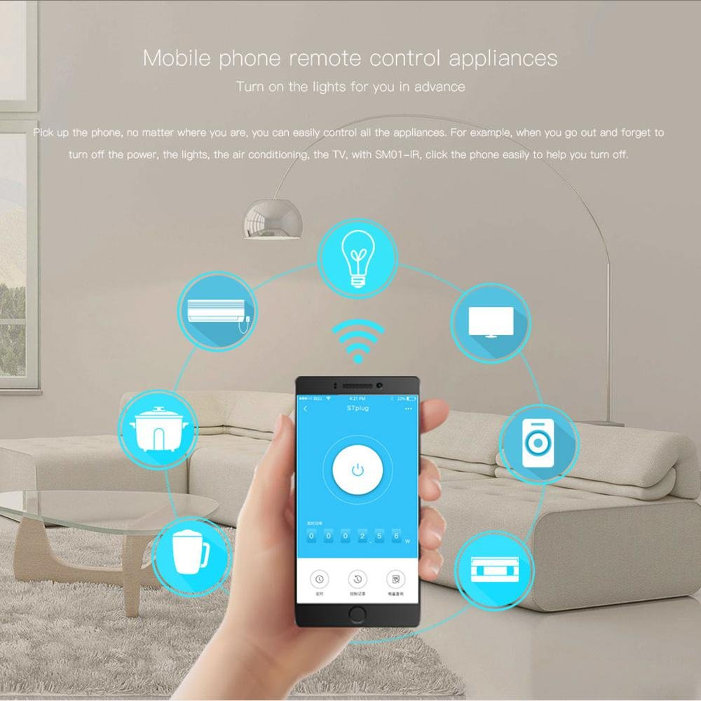 Teepao WiFi Smart Mini Plug IR Control Air Conditioner Works with Alexa and Google Home, Wireless Remote Control Electrical Outlet Switch with Energy Monitoring, Support Voice and Phone App Controlled by Teepao (Image #6)