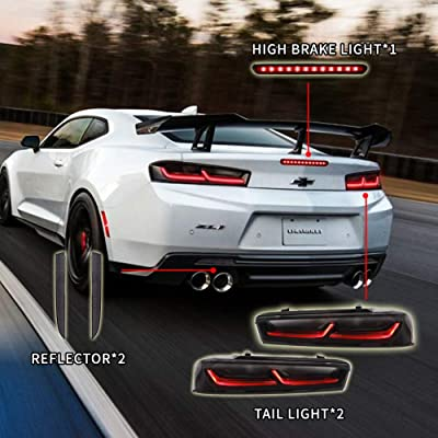 Atoplite Darkened/Smoked Taillights/Rear reflector/High position brake light kit Package fit for 2016-2020 Chevrolet Camaro (Smoked Lights KITx3): Automotive