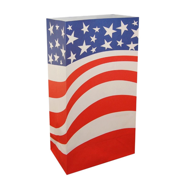 CC Home Furnishings Club Pack of 24 Patriotic American Flag Design Luminaria Bags 11''