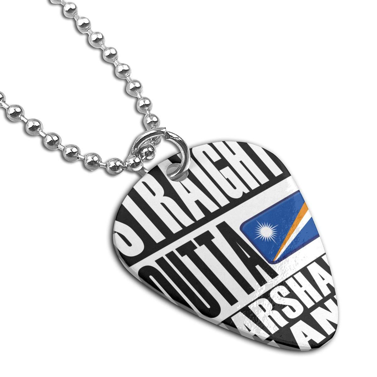 Straight Outta Marshall Islands Guitar Pick Necklace Unique Custom Fashion Pet Card Keychain