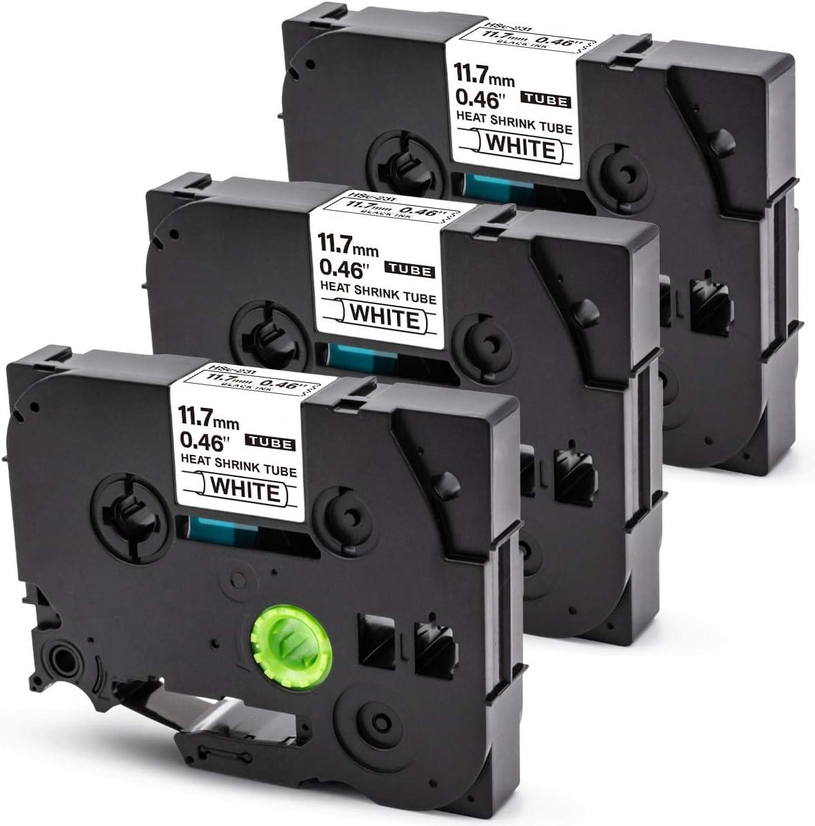 BT 3x Rubans d/étiquettes pour Tze Gaine Thermo Retractable Hse-231 11,7 mm x 1,5 m pour Brother P-Touch PT-E300 PT-E550W PT-E100 PT-H101C PT-D600VP PT-P750WP PT-1000 PT-H200 PT-H105 Noir sur Blanc