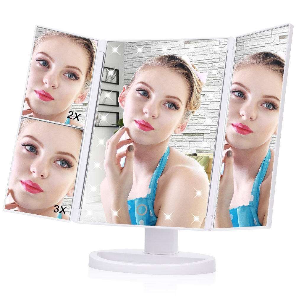 LED Makeup Mirror, Haofy 21 Led Lights Trifold Vanity Mirror with Touch Screen,1X 2X 3X Magnification and 180 Degree Adjustable Stand Travel Mirror for Countertop Cosmetic Makeup (With USB Cable,White by Haofy