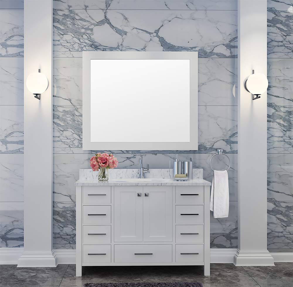 DKB Beckford Series 43 Inch Single Oval Sink Bathroom Vanity Set in White Carrara White Marble Countertop 2 Soft Closing Doors 9 Full Extension Dovetail Drawers Matching Framed Mirror
