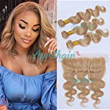 Aprilhair 8A Pre Plucked Lace Frontal With 3 Bundles #27 Honey Blonde Brazilian Virgin Human Hair Body Wave Ear to Ear 13x4 Lace Frontal Closure (16+18 20 22)
