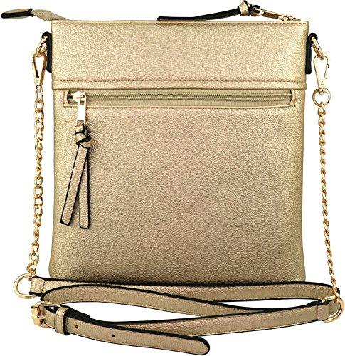 with Gold Double Bag Chain Crossbody Strap Vegan Zipper Iw7R8xqqa