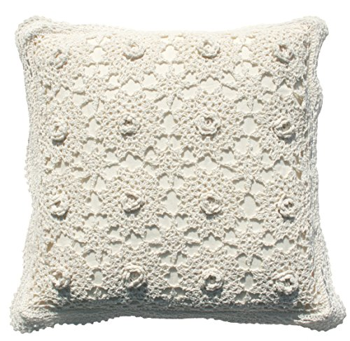 - Decorative Pillow Covers Cotton Vintage Handmade Crochet Throw Pillow Cushion Covers Handcraft Pillowcase 3D Lace floral Pattern Rural Style By Kamay's Cream 18 X 18 Inch (A-2PCS)