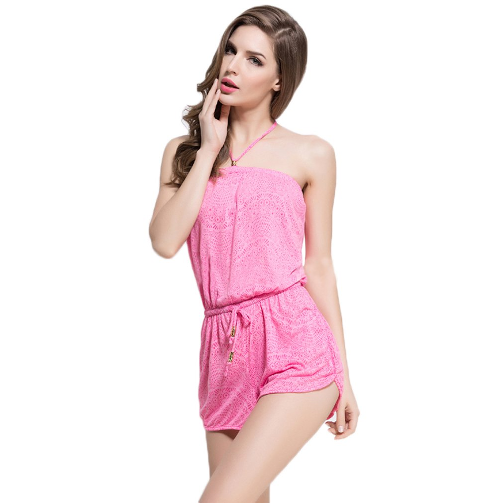 d2fb9e2872ed Amazon.com  DREAMY Sexy Tube Top Comfort Rayon Romper Playsuit Casual Loose  Slim Jumpsuit  Clothing