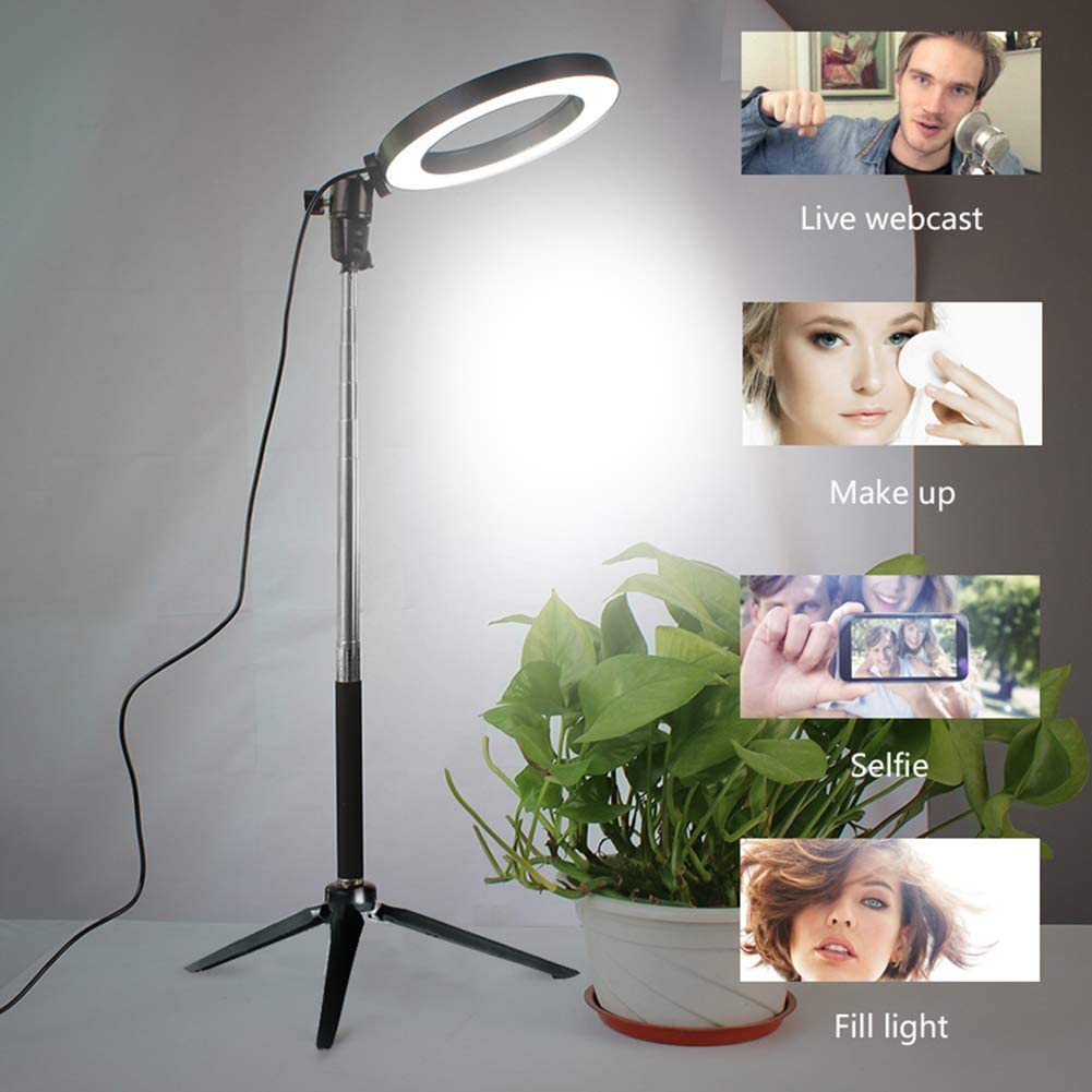 USB PoweredPhone Holder for Live Streaming Camera Makeup Selfie,Black,6 6 8 10 Dimmable Ring Light 3 Color Modes and 10 Brightness Ring Light with Tripod Stand