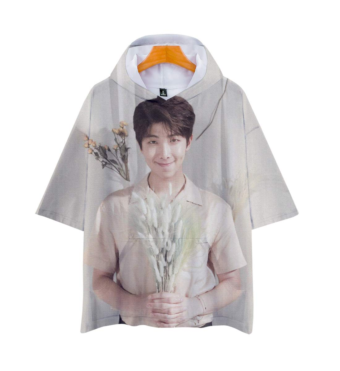 APHT Unisex BTS 3D Hoodie Short Sleeve T-Shirt for Men Women Teen Bangtan Boys Jin Suga J-Hope RM Jimin V Jung Kook Summer Tops Sweater Pullover Jackets