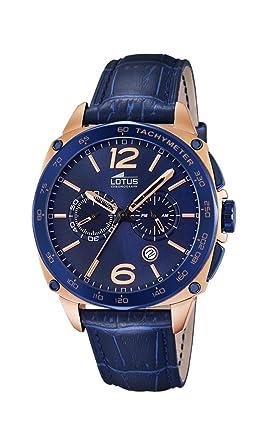 Lotus 18217/1 - Reloj de Pulsera Hombre, Cuero, Color Azul: Amazon.es: Relojes