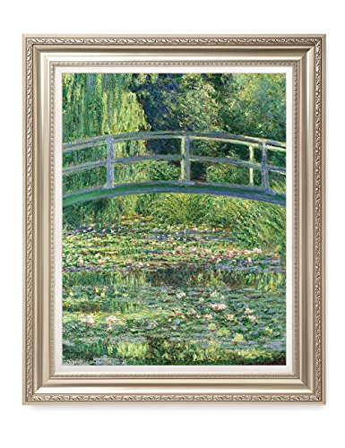DECORARTS - The Japanese Bridge (The Water-Lily Pond) Claude Monet Art Reproduction. Giclee Print& Museum Quality Framed Art for Wall Decor.