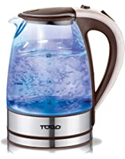 TODO 1.7L Glass Cordless Kettle with Blue LED Indicator Light
