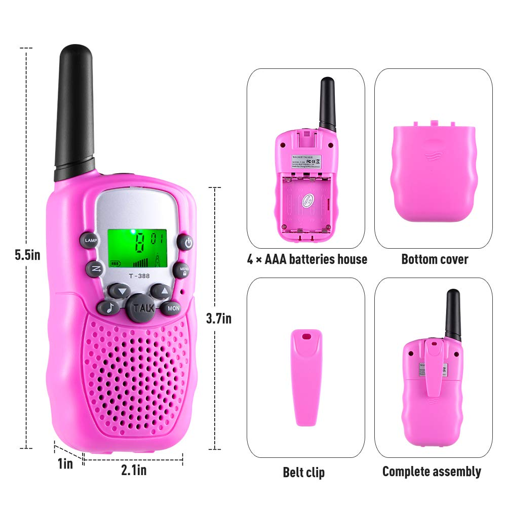 Gifts for 3-12 Year Old Girls, Kids Walkie Talkies 22 Channels 2 Way Radio 3 Miles Range Toys for 4-9 Year Old Girls Boys Outdoor Adventures Hiking Camping (Pink, 2 Pack) by Hotdor (Image #4)
