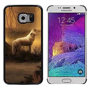 TopCaseStore / la caja del caucho duro de la cubierta de protección de la piel - White Wolf Forest Night Mist Fog Nature Art - Samsung Galaxy S6 EDGE SM-G925