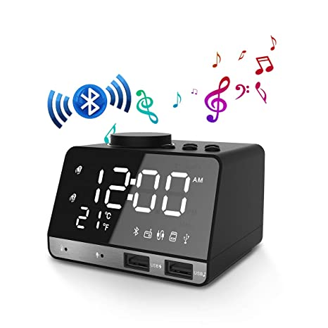 EIVOTOR Radio FM Reloj Despertador Digital LED Reloj de Alarma con Dual USB Puertos de Carga