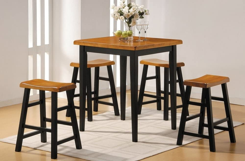 ACME 0 5-Piece Counter Set, 36-Inch Square Top, Oak Black