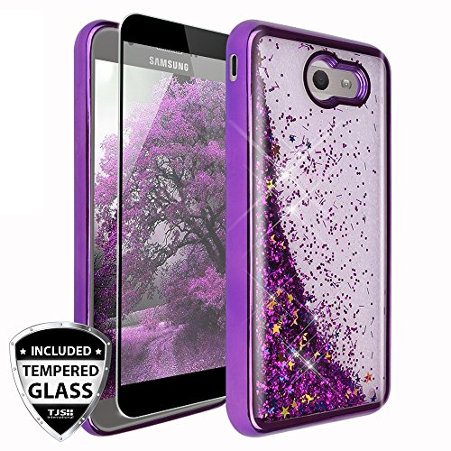 Galaxy J7 Sky Pro Case, Galaxy J7 Perx Case, Galaxy J7 V Case, Galaxy Halo Case, Galaxy J7 Prime Case, TJS [Full Coverage Tempered Glass Screen Protector] Chrome Glitter Motion Case (Purple)