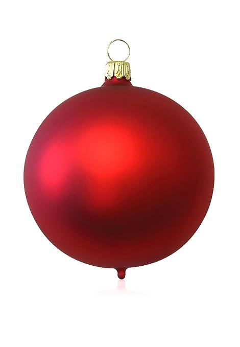 Kugeln rot matt 3 St/ück d 8cm Christbaumschmuck Weihnachtsbaumschmuck mundgeblasen Lauschaer Glas das Original