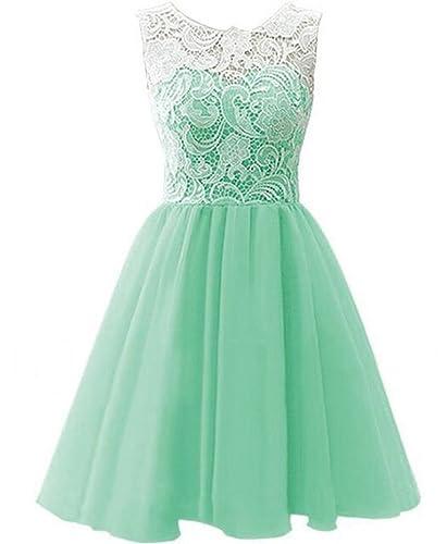 Women's Short Lace Chiffon Bridesmaid Prom Homecoming Dresses 2016
