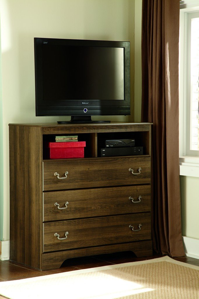 Ashley Furniture Signature Design - Allymore Media Chest - Entertainment Console Table - 3 Drawer - Brown by Signature Design by Ashley