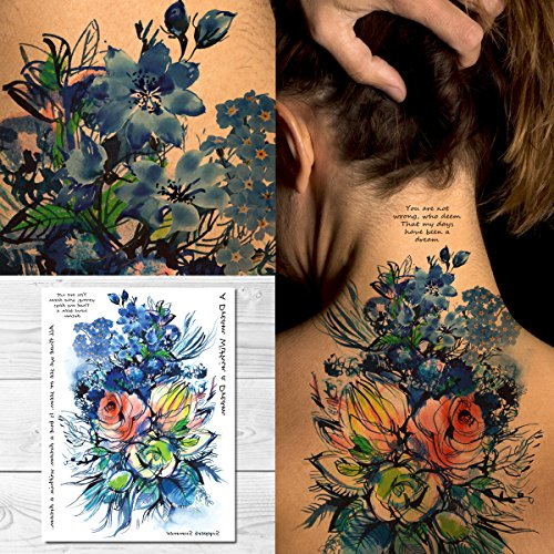 (Supperb Temporary Tattoos - Watercolor Blue Flowers Bouquet of Summer Dream)