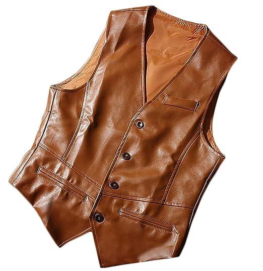 Alion Mens Stylish V Neck Sleeveless PU Faux Leather Jacket Vest Waistcoat