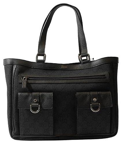 9488da243f12 Amazon.com: Gucci Black Denim Abbey Tote Handbag Purse 268639 1160 ...