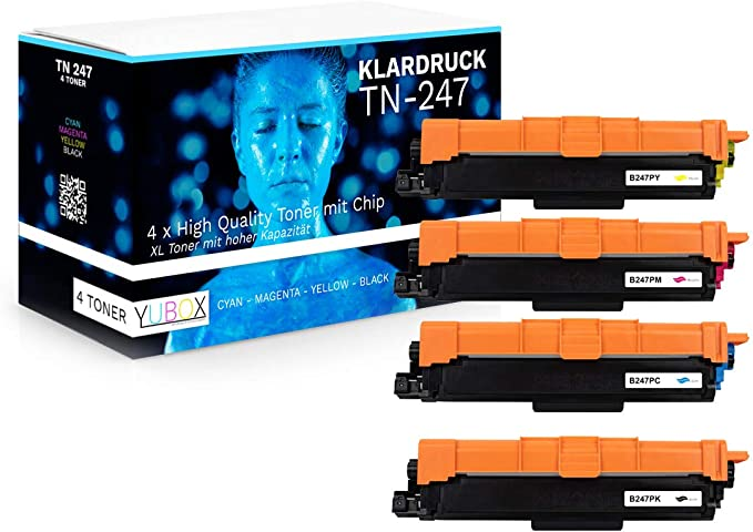 Juego de 4 tóneres XL compatibles con Brother TN-247 TN-243 (con ...