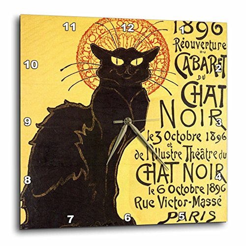 Vintage French Chat Noir Black Cat Art Wall Clock