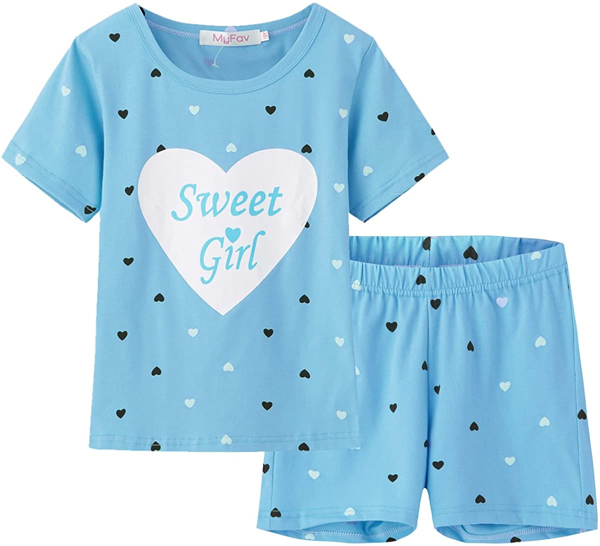 MyFav Big Girls Summer Pajama Set Heart Shape Printed Cute Sleepwear Shorts