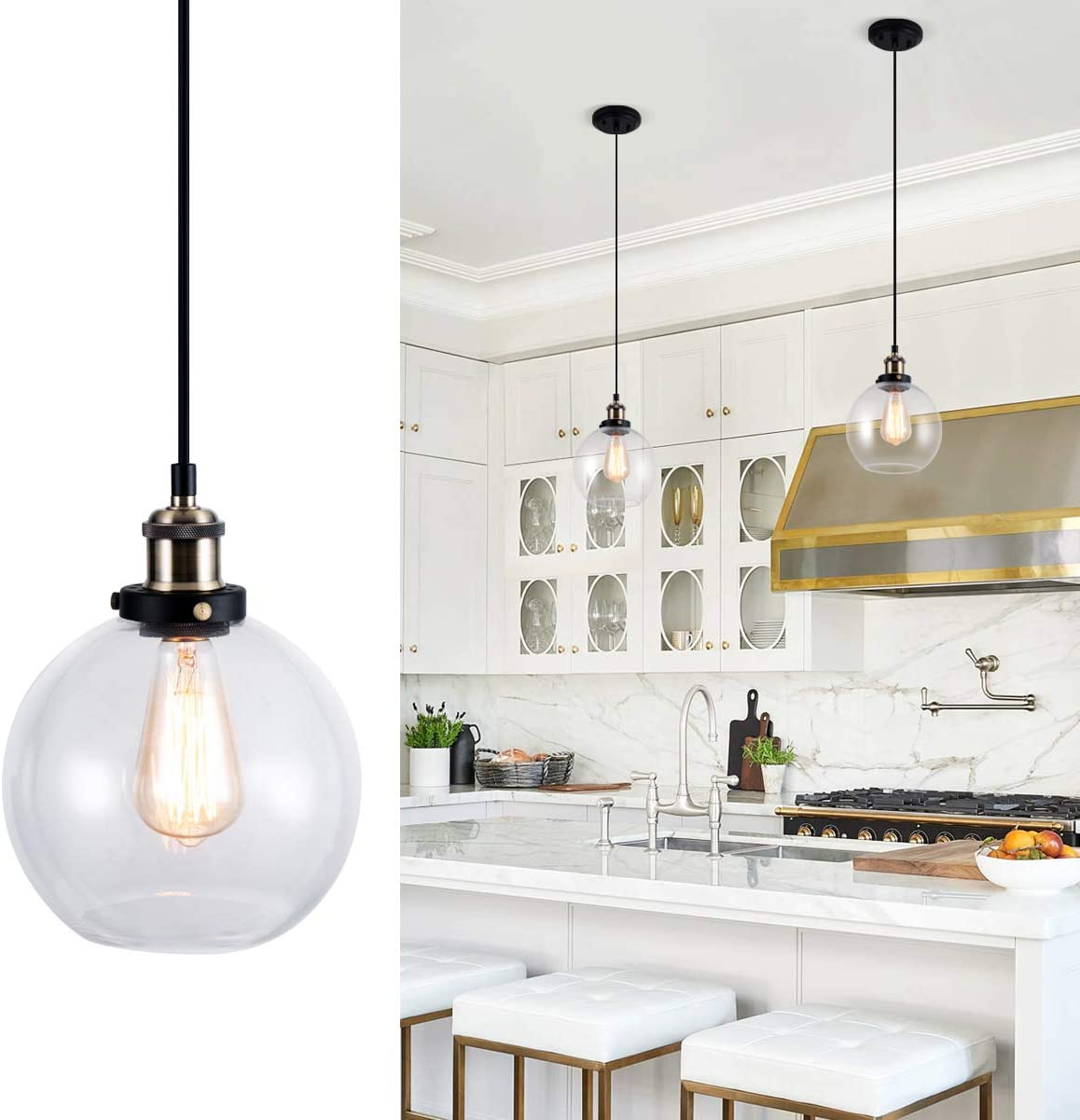 Lanros Modern 1-Light Ceiling Pendant Light with Globe Clear Glass Shade Vintage Classic Pendant Lighting for Kitchen Sink Bedroom, Antique Brass Pendant Mini Light Fixture