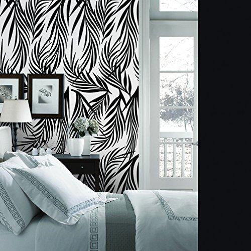 Creative Leaves Wallpaper (CaseFan 3D Peel and Stick Wallpaper for TV/Sofa Livingroom Background Decoration--53x122cm Creative Tree Leaves Wall Decor,Black+White)