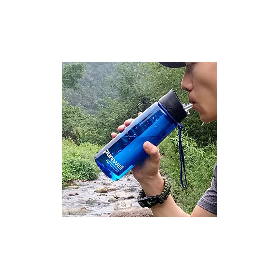 Purewell Water Filter Bottles for Hiking, BPA Free with 2 Stage Integrated Filter Straw Include Paracord Bracelet with Fire Starter 22 Ounces 650ml