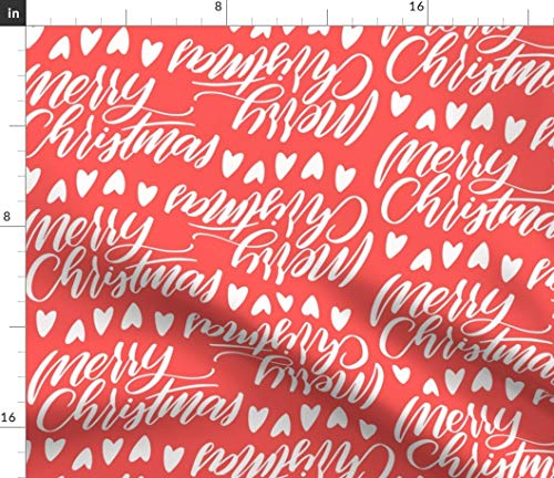 Xmas Fabric - Red Typography Christmas Holiday Merry Colorway6 Holly Jolly Joy Winter Print on Fabric by the Yard - Basketweave Cotton Canvas for Upholstery Home Decor Bottomweight Apparel