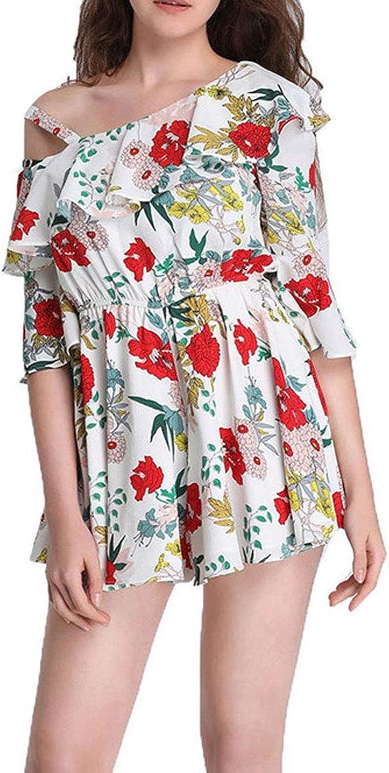 goldenharvest GH Womens High Waist Romper Flower Printed Oblique Shoulder Blouse Short Jumpsuit