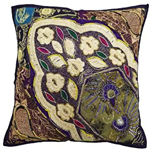 Decorative Embroidered Cushion Cover 40 cm Blue Pillow Case Beaded/Patch Work Indian Gift 16 Inches