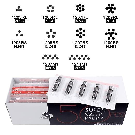 Solong Tattoo Maquina Kit de Tatuaje Completo Profesional Rotativa Maquina para Tatuar Digital Fuente de Alimentacion 2pcs Especial Grip con 50pcs Cartuchos ...