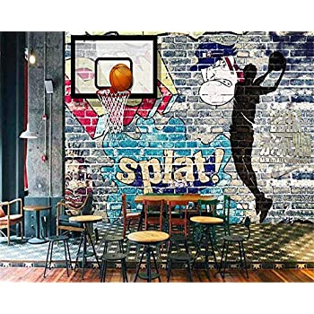 Image of Ai Ya-bihua 3D Wallpaper Basketball Never Delete Graffiti Wall Shadow Mural Background Walls Living Room Bedroom Wallpaper