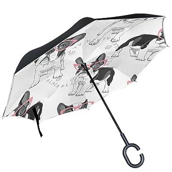 ALAZA rosa Bulldog Francés gafas diseño doble capa resistente al viento Reverse paraguas