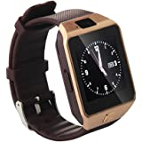 Hipipooo-DZ09 Bluetooth Smart Watch with SIM Card Slot Make Phone Calls 2.0MP Camera Support Message Notification TF Card Pedometer Sleep Monitor Compatible with Android and iOS System Gold