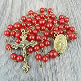 range beads - Red Gemstone Rosary with Mary centrepiece, includes Gift Box